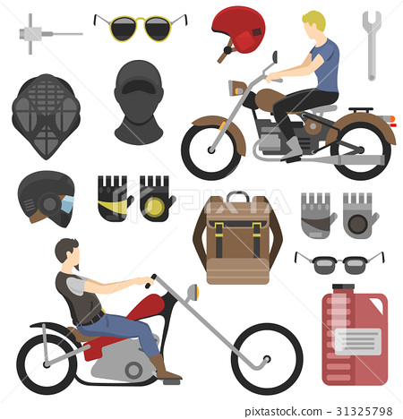 Two motorcyclist with accessories set. helmets 31325798