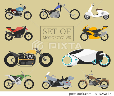 Set of motorcycle icons. retro and modern flat 31325817