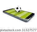 Football field on the smartphone screen. 3d 31327577