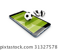 Football field on the smartphone screen and shoe 31327578