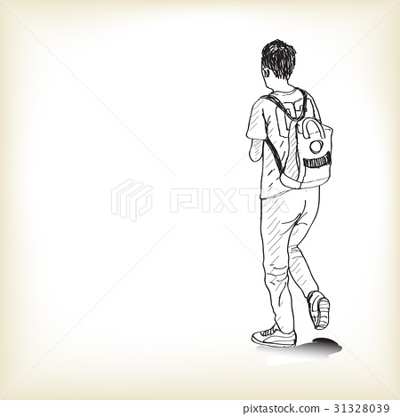 sketch a boy walking with backpack to school, 31328039