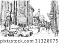 city scape sketch of town street in Quebec Canada  31328075