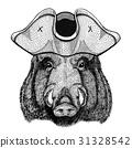 Aper, boar, hog, hog, wild boar wearing pirate hat 31328542