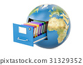 Global data storage. Earth globe with folders 31329352