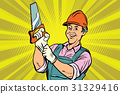 Construction worker with saw 31329416