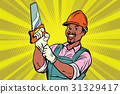Construction worker with saw 31329417