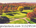 Aerial view of an autumn golf course 31329534