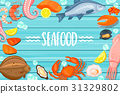 Seafood lettering on blue wooden background 31329802