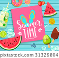 Summer time lettering on blue wooden background. 31329804