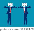 Feeling. Businessman holding smile and sad mask. 31339429