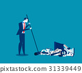 Businessman sweeping away old technology. 31339449