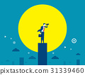 Businessmen looking telescope for target. 31339460