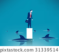 Surrounded shark. Concept business illustration.  31339514
