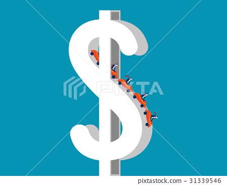 Roller coaster on dollar sign depicting up. 31339546