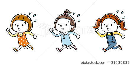 Girls running in a hurry: set 31339835