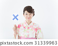 유카타 여성 (○ × 막대기) 31339963