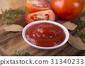 ketchup in white bowl with fresh tomato and herbs 31340233