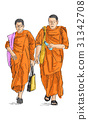 sketch of young buddhist monks walking on street 31342708