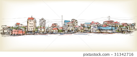sketch of townscape in Phnom Penh slum 31342716