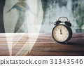 retro alarm clock on wood table with grunge  31343546