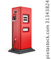 3d rendering of red gas pump isolated on white 31343824