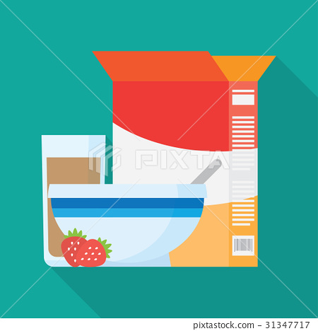 Bowls of breakfast cereal. Vector illustration 31347717
