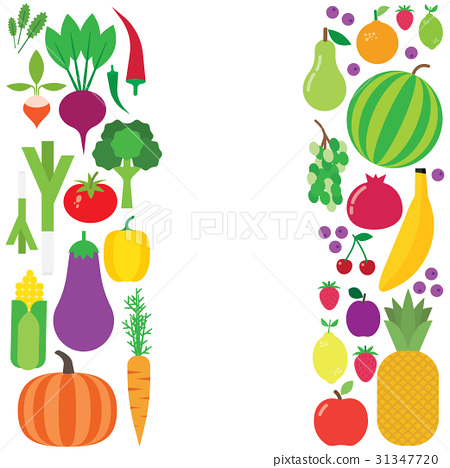 Fruit and vegetable vector background. 31347720