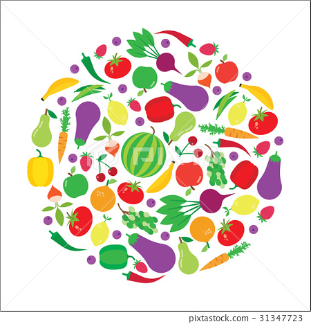 Fruit and vegetable vector circle background. 31347723