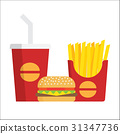French fries, burger and soda 31347736