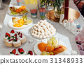 Candy bar. Wedding table with sweets, cupcakes 31348933