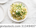 homemade pasta with green peas 31349407