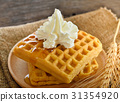 waffles honey syrup on wooden background 31354920