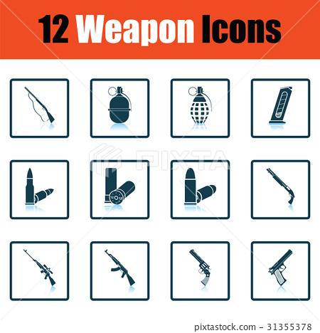 Set of twelve weapon icons 31355378