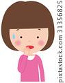 인물 표정 놀라운 초조 여자 아이 31356825