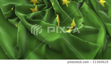 Adygea Flag Ruffled Beautifully Waving 31360629