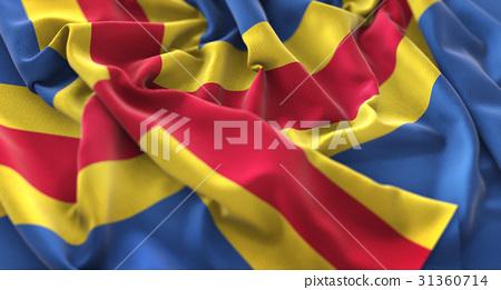 Aland Islands Flag Ruffled Beautifully Waving 31360714