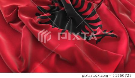 Albania Flag Ruffled Beautifully Waving Macro 31360725
