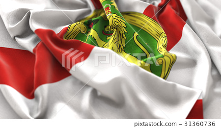 Alderney Flag Ruffled Beautifully Waving Macro 31360736
