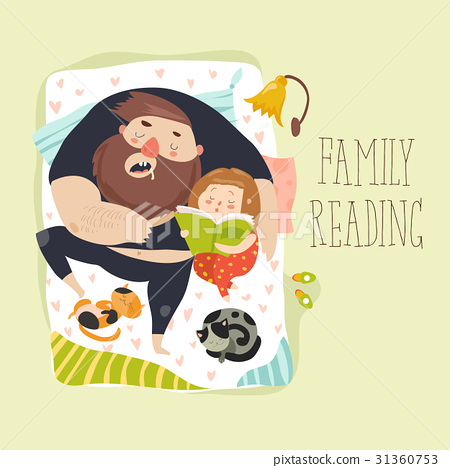 Cute daughter reading bedtime story to his father 31360753