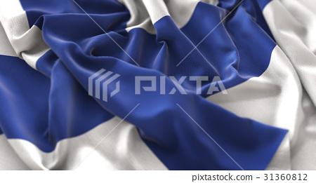 Finland Flag Ruffled Beautifully Waving 31360812