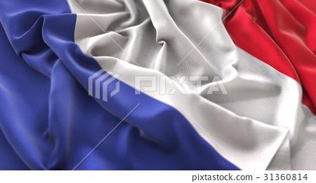 France Flag Ruffled Beautifully Waving 31360814