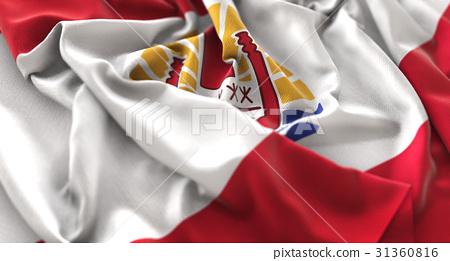 French Polynesia Flag Ruffled Beautifully Waving 31360816