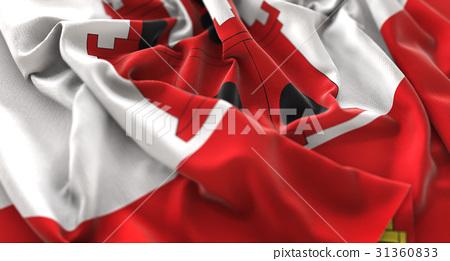 Gibraltar Flag Ruffled Beautifully Waving 31360833