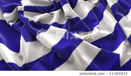 Greece Flag Ruffled Beautifully Waving 31360835