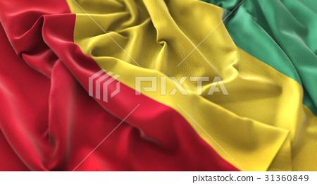 Guinea Flag Ruffled Beautifully Waving 31360849
