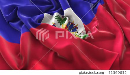 Haiti Flag Ruffled Beautifully Waving 31360852