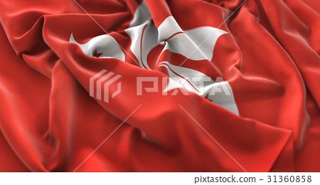 Hong Kong Flag Ruffled Beautifully Waving 31360858
