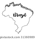 Hand drawn  of  Brazil map, vector  illustration 31360989