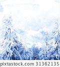 Watercolor winter landscape 31362135