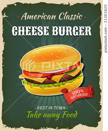 Retro Fast Food Cheeseburger Poster 31363820